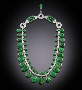 Cartier Art Deco emerald and diamond necklace